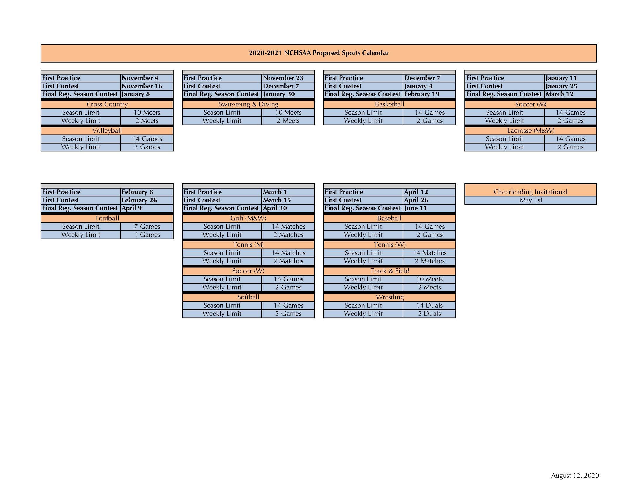 NCHSAA Calendar